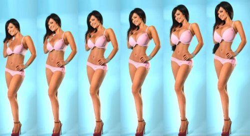 Une fille sexy en bikini photoshopée