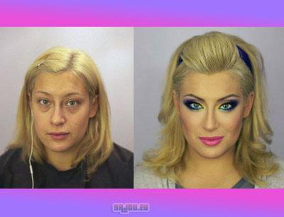 Des strip teaseuses avant et après le maquillage