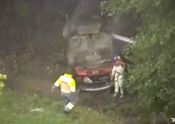 Le tonneau de Sébastien Loeb lors du Rallye WRC d'Alsace