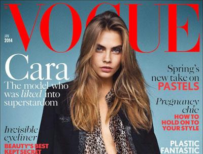 Cara Delevingne pose pour le magazine Vogue anglais de Janvier 2014