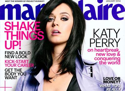 Katy Perry pose pour le magazine Marie Claire US de Janvier 2014