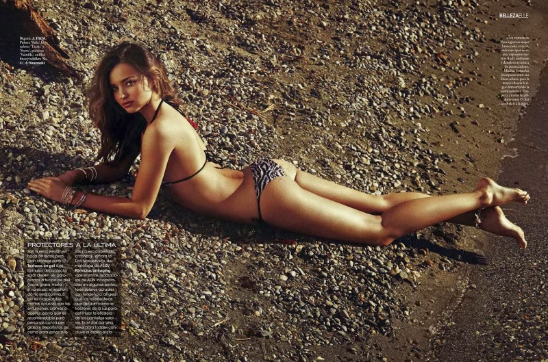 Miranda Kerr bikini plage Elle Magazine