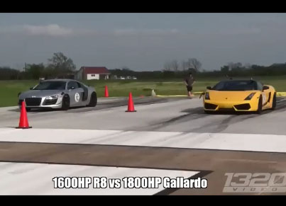 Une audi R8 bat une Lamborghini de 1800 chevaux