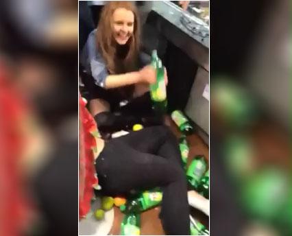 Deux filles alcoolisées mettent le bazar dans une supérette