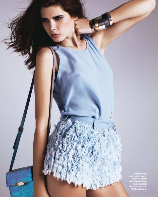 Monica Cima Marie Claire France Juin 2014 jupe et top bleu sajou