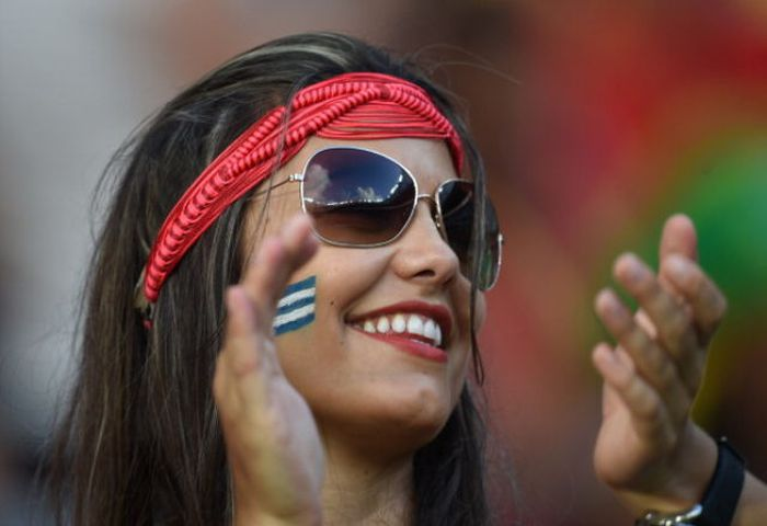 Une supportrice lors du mondial de football