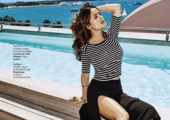 Salma Hayek pose pour le magazine Grazia France de Juillet 2015