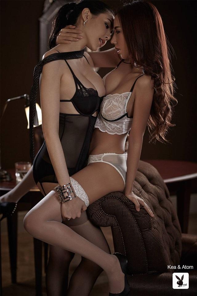 Kae Lederer et Atom pour Playboy