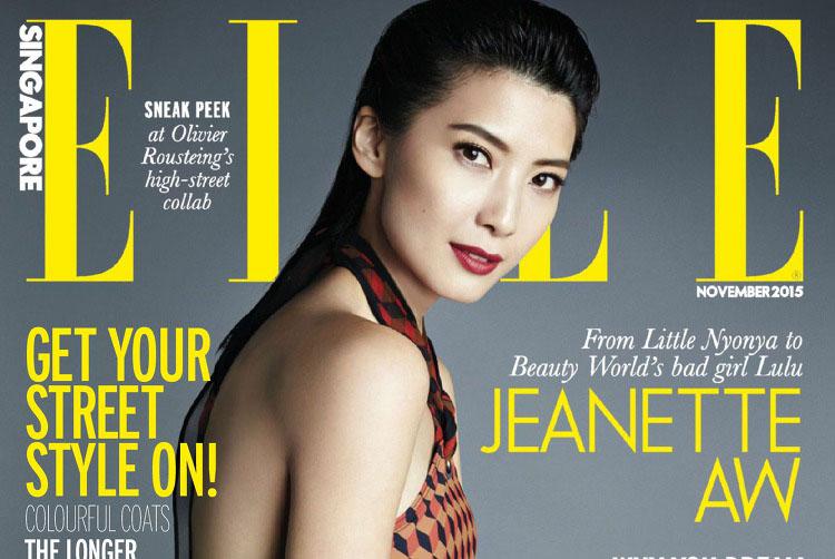 Jeanette Aw en couverture du magazine ELLE Singapore