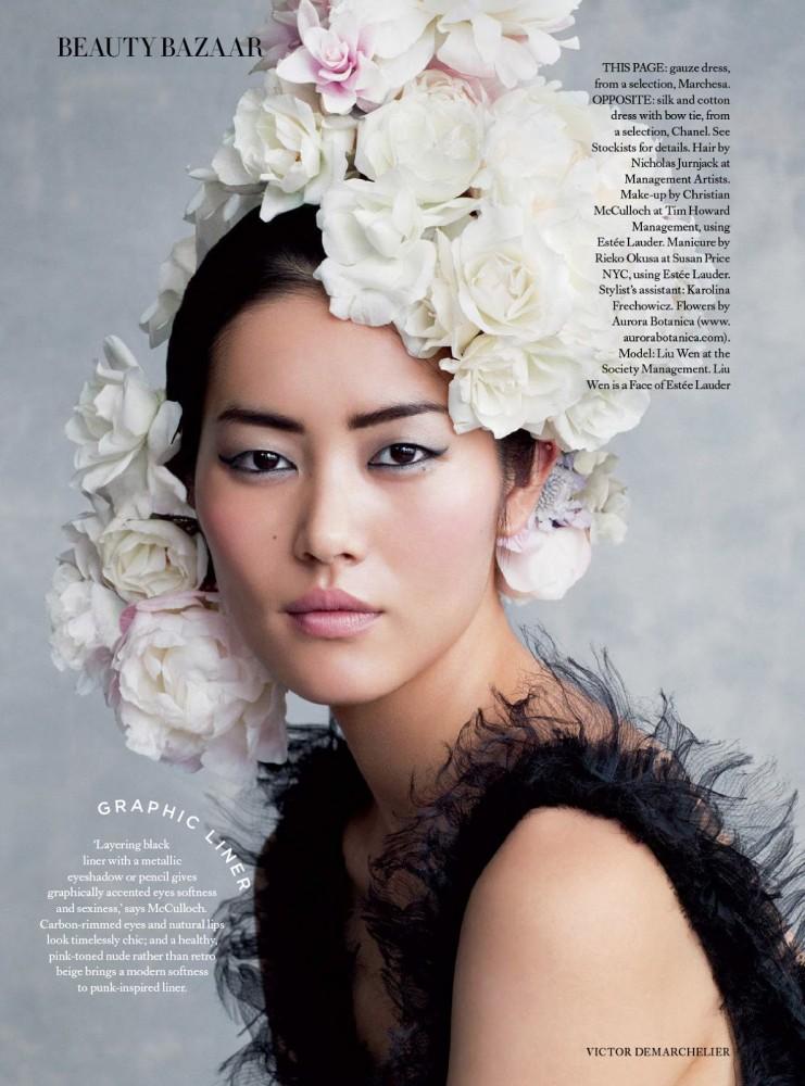 La top model chinoise Liu Wen dans Harper's Bazaar