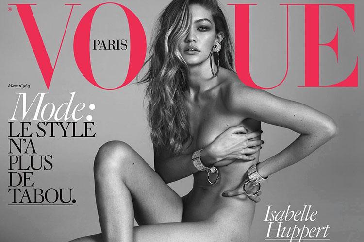 Gigi Hadid pose pour le magazine Vogue Paris de Mars 2016