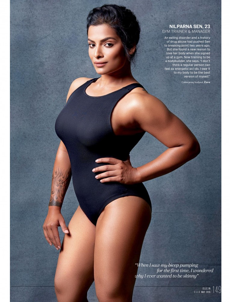Une indienne musclé et avec une grosse poitrine en monokini