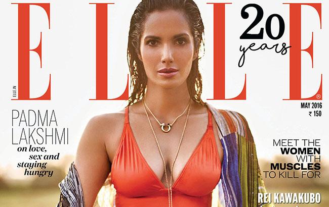 Padma Lakshmi pose pour le magazine ELLE