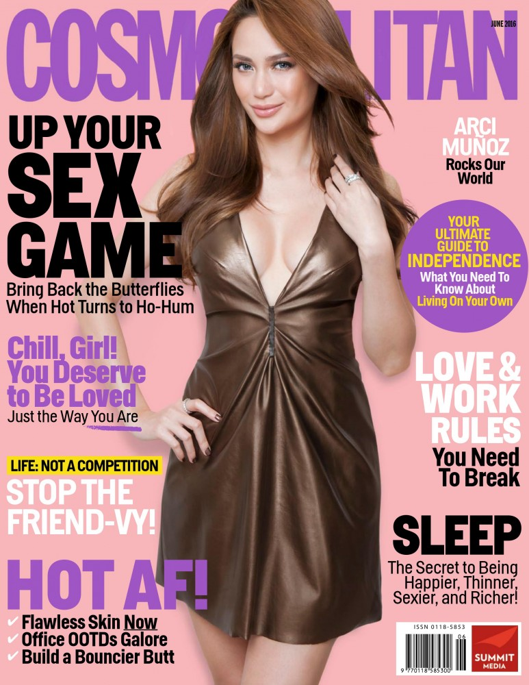 Arci Muñoz pose en couverture du magazine Cosmopolitan philippin de Juin 2016