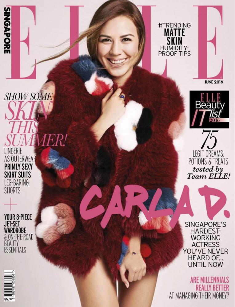 Carla Dunareanu pose en couverture du magazine ELLE Singapour