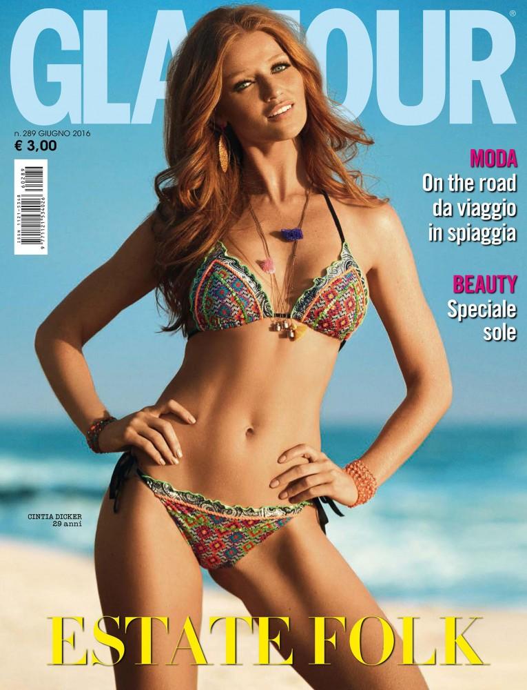Cintia Dicker est en couverture du magazine Glamour italien de juin 2016