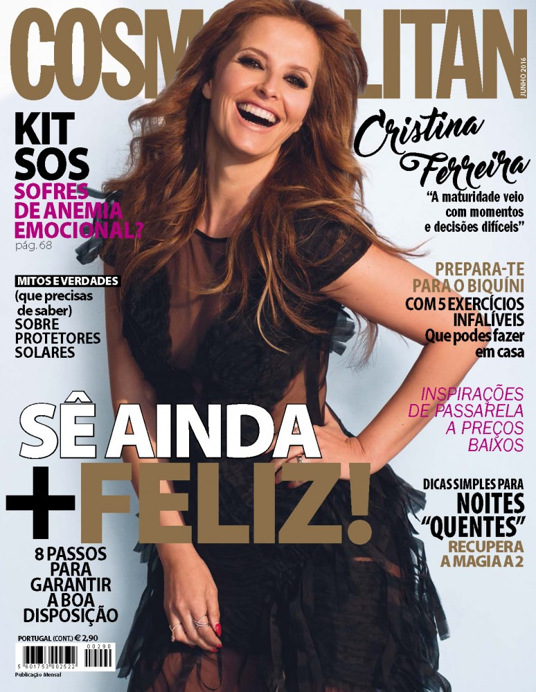 Couverture du magazine Cosmopolitan Portugais avec Cristina Ferreira