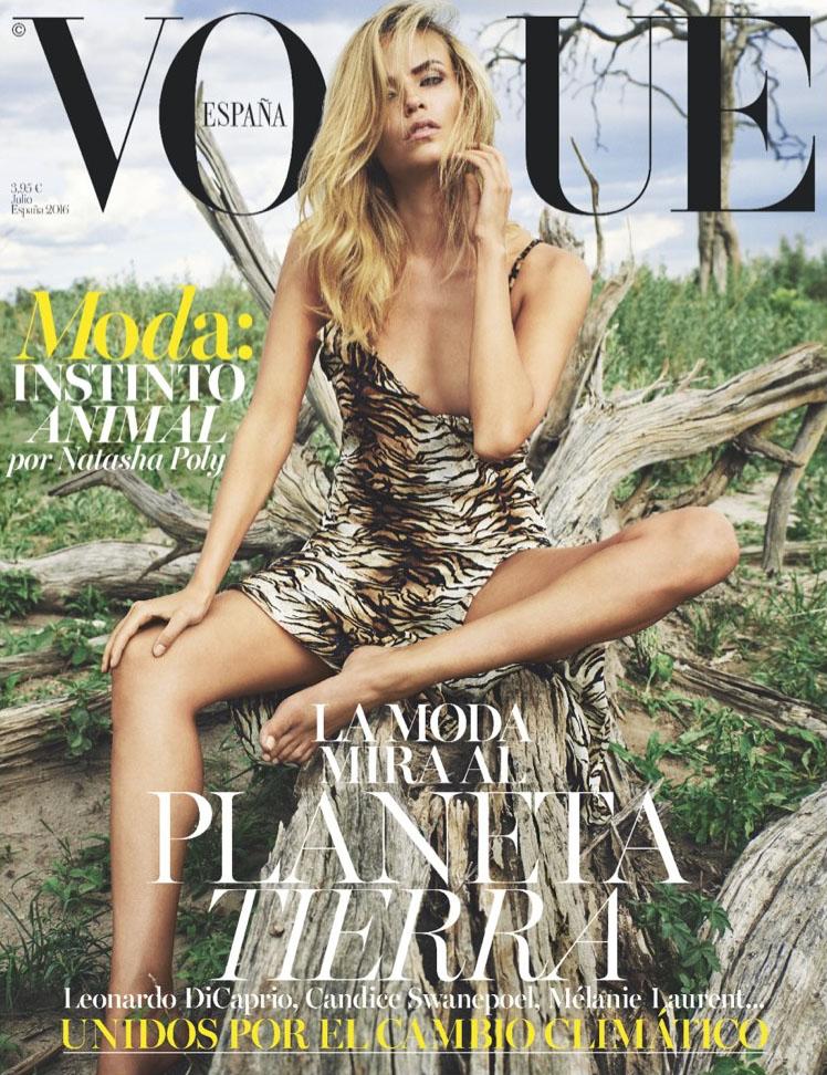 Couverture du magazine Vogue Espagnol de Juillet 2016 avec Natasha Poly