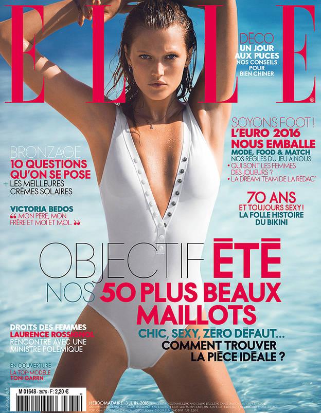 Toni Garrn pose en couverture du magazine ELLE France