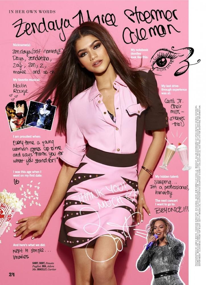 Zendaya Coleman pose dans le magazine féminin Cosmopolitan