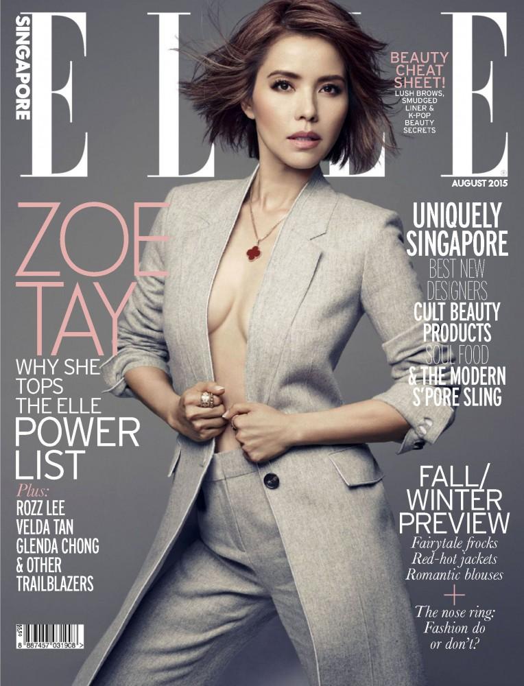 Zoe Tay pose en couverture du magazine féminin ELLE Singapour
