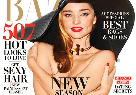 Miranda Kerr pose topless pour Harper's Bazaar – Février 2015