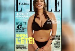 Le mannequin grande taille Ashley Graham pose pour ELLE