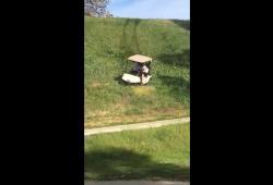 Mauvaise idée: ils prennent un raccourci avec une golfette et boum!