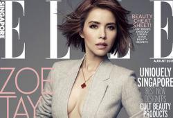 Zoe Tay pose pour le magazine ELLE Singapour d'Août 2015