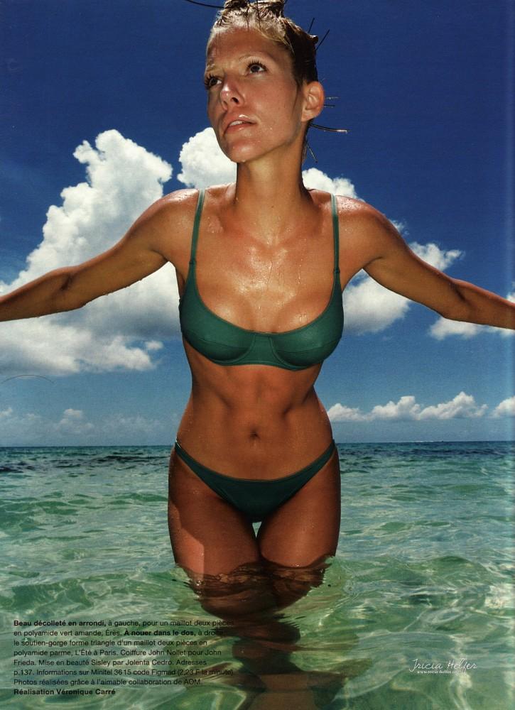 Tricia Helfer Bikini Vert magazine Madame Figaro 1995
